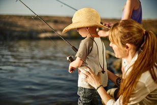 Mom and Son Fishing