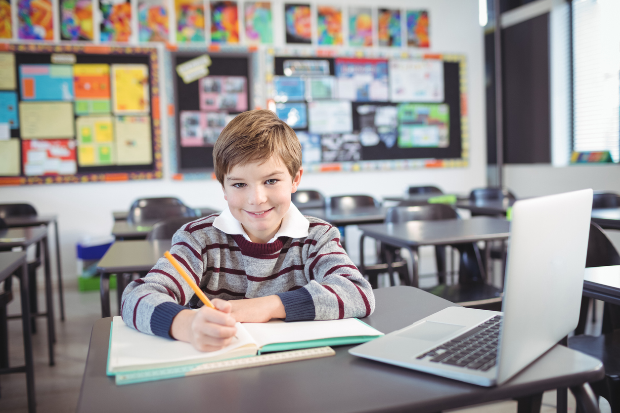 Portrait of smiling elementary schoolboy studying while sitting at desk in classroom